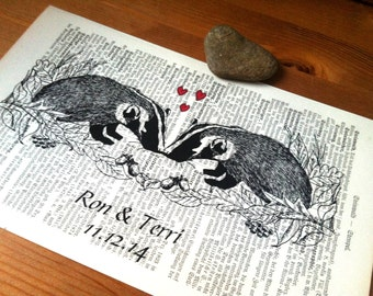 Badgers Sweet Love Valentine Wedding Anniversary Engagement Gift Personalized Art Print on Antique 1896 Dictionary Book Page