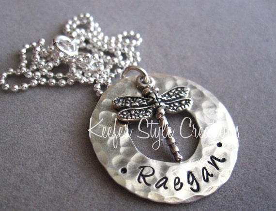 Hand stamped hammered washer necklace with dragonfly charm for How do you make hand stamped jewelry
