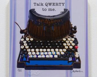 """Typewriter Art on wood block - """"Talk QWERTY to me"""" - ready to hang"""