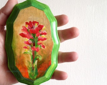 "Prairie Fire ""Indian Paintbrush"" Wildflower Painting on wood plaque - Art by Amanda Christine Shelton"