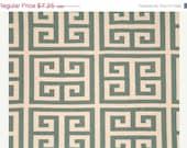 Closing Shop SALE  Home Dec Fabric Yardage - Towers Greek Key  - Premier Prints Designer -Soft Blue and Natural - 1 Yard