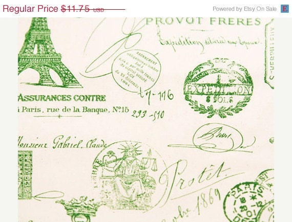 Closing Shop Home Dec Fabric Yardage - French Stamps - Green and White- Premier Prints Designer  - 1 Yard