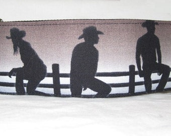 SALE Cowboy Martingale Dog Collar - 2 Inch - silhouette fence cowgirl ranch farm hat boots country western