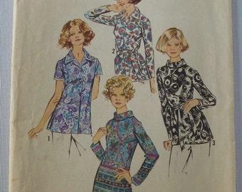 UNCUT Vintage 1970s Simplicity Pattern 5359 Misses Set of Blouses Size 12 Blouse Pattern Vintage Blouse Pattern