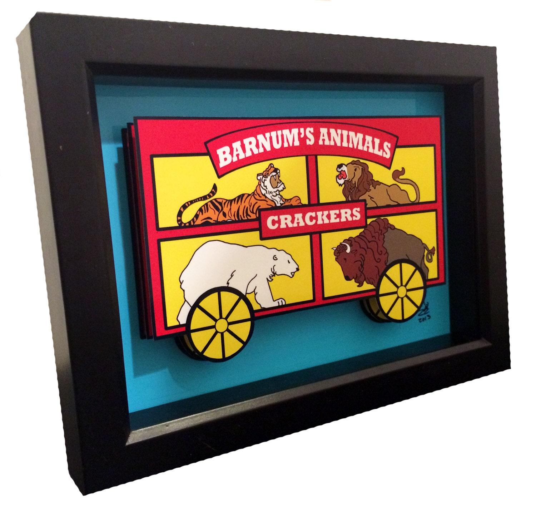 animal crackers box 3d pop art kitchen artwork barnum 39 s. Black Bedroom Furniture Sets. Home Design Ideas