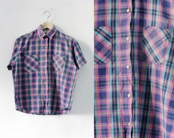 Grounge Tartan Shirt - Teal Purple Short Sleeved