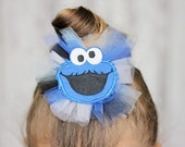 Cookie monster tulle hair clip applique girls