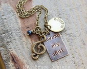 awake my soul -inspire - mixed metal necklace design with G clef charm in antique golds