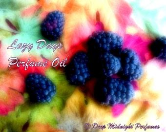Lazy Days Perfume Oil: Lush blackberries, autumn leaves, clove, woods, chardonnay, berry perfume