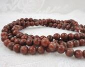 Red Sesame Jasper 8mm Round Beads - RESERVED