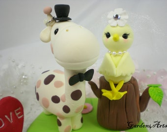 Custom Wedding Cake Topper--Love Giraffe and Bird Couple with Clay Grass Base --