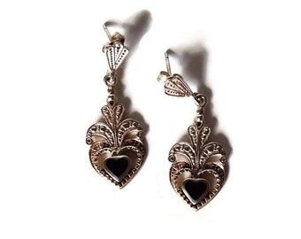 Antique Sterling Silver and OnyxEarrings - 80 + Years Old Art Deco Style