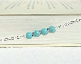 Turquoise Eyeglass Chain, Reading Glasses Chain, Eyeglass Necklace, Eyeglass Holder Necklace, Silver Lanyard