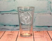 100 Custom Designed and Engraved Pint Glass Wedding Favors 16 ounces