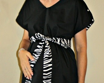 LINED Bernadette Maternity Hospital Gown - Reverse Zebra Gown - Solid Main Body Color - Zebra Lining and Sash - by Mommy Moxie on Etsy