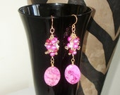 """Ashira Hot Pink Fuchsia Crazy Lace Agate with Cluster of Fuchsia Fresh Water Pearls, Moonstone, Red Aventurine - 2 3/4"""""""