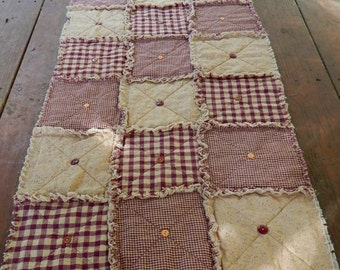 "Homespun Table Runner 74"" Long, Burgundy Wine Red Country Primitive Rag Quilt Style, Button Adorned, Handmade in NJ"