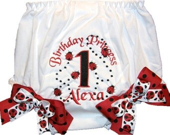 Personalized  Birthday Baby Girl Diaper Cover Bloomers Ladybugs Double Bows