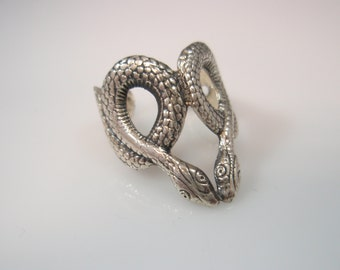 vintage Two Snakes Sterling Silver Ring 925 toe ring