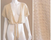 Vintage knit ivory cream bohemian wrap top 1960s .