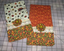 Cottage Chic Harvest/Fall Kitchen Tea Towels (Set of 2)