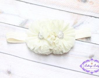 Ivory baby headband, infant headband, newborn headband, cream baby headband, ivory headband, baptism headband, christening headband