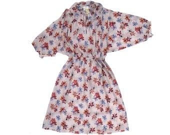 70s Peterpan Collar Floral Print Dress. size m - l