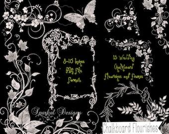 Wedding CHALKBOARD FLOURISHES ChalkBoard Swirls Retro Chalkboard Clip Art Chalkboard Wedding Clipart Scrapbooking Rustic Chalkboard Florals