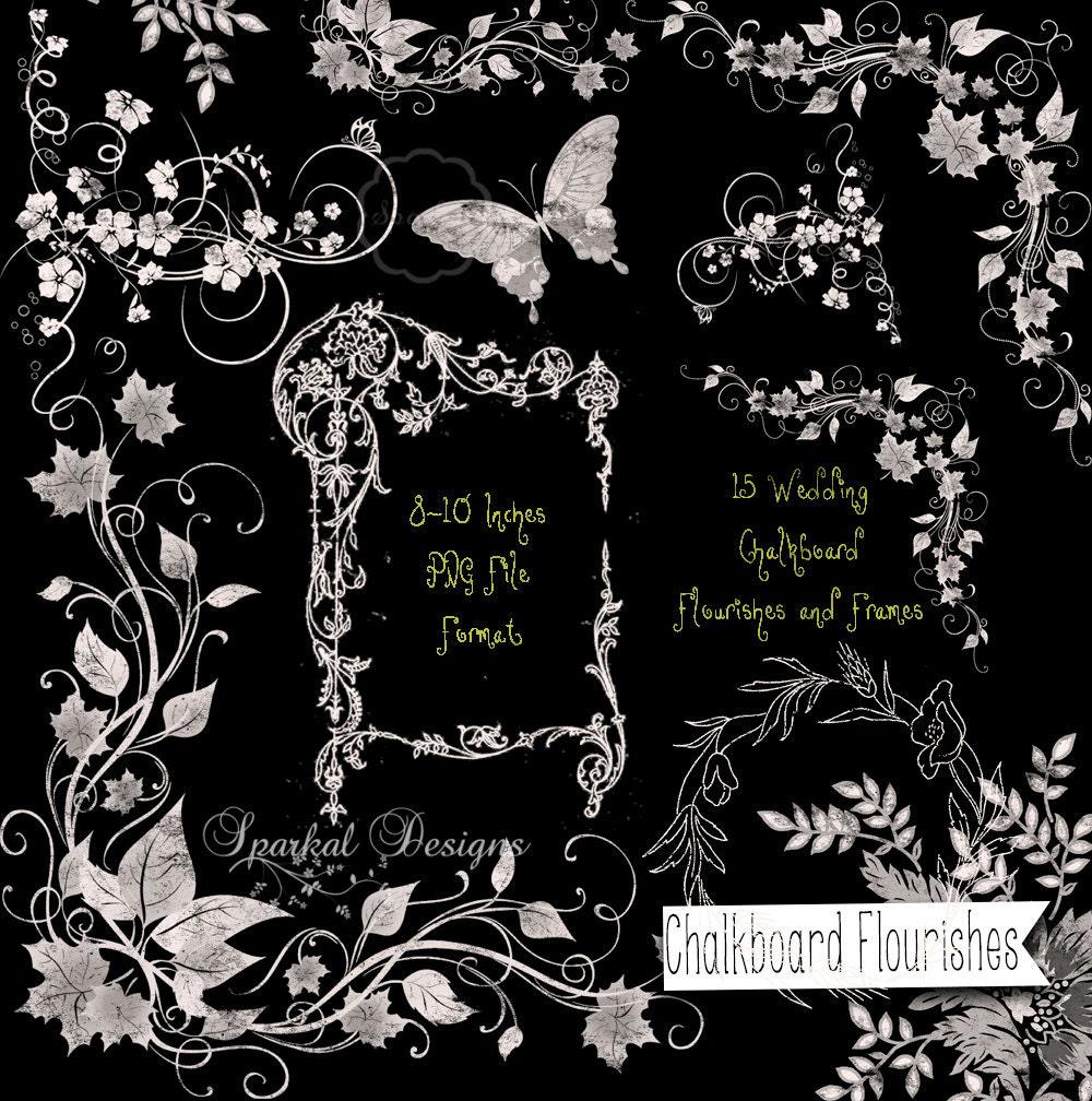 Wedding CHALKBOARD FLOURISHES ChalkBoard Swirls Retro Chalkboard Clip Art Clipart Scrapbooking Rustic Florals