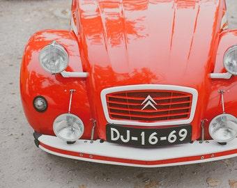 Red Car Photograph, Vintage Style, Vintage Print, Car Photography, Wall Decor, Nursery, Boys Room Decor, Red 2CV, Vintage Car, French Style