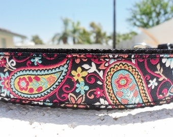 "Dog Collar Fiesta Paisley 1"" wide side release buckle - martingale style is cost upgrade see link"
