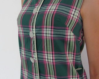 The 1950's Green and Pink Plaid Sporty Golf Dress