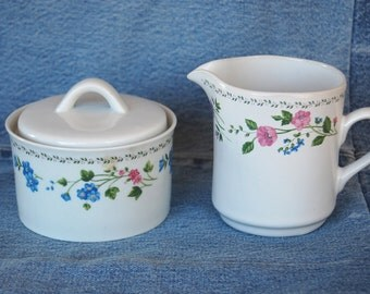 Vintage Farberware Stoneware English Garden Cream and Sugar pattern 225 circa 1993