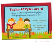 PRINTABLE Pumpkin Patch Party Invitation (Boy, Girl, or Twin/Neutral)