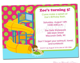 PRINTABLE Girl Waterpark Party Invitation #598