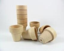 """10 Flower Pots 1 15/16"""" H x 1 3/4"""" Dia. Unfinished Wood Flower Pot Miniatures"""