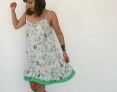Clearance SALE / Bohemian dress gray floral mini tunic loose summer dress casual shirt grey dress