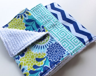 Baby Girl Burp Cloths - Contoured or Rectangular - Three Boutique Chenille Burp Rags - Teal, Royal Blue, and Lime Flowers, Lattice, Chevron