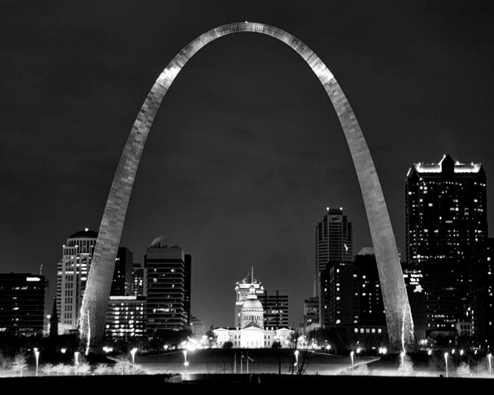 St Louis History In Black And White: St Louis Skyline And Gateway Arch Fine Art Photograph 5x7