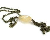 Citrine Drop Necklace, Faceted Golden Citrine Nugget Drop, Natural Stone Handcrafted Jewelry with Antiqued Brass Fringe