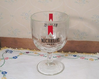Vintage Michelob Thumbprint Glass Goblet