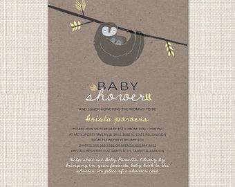 BABY SLOTH Shower Invitation - DEPOSIT