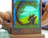 Cat ACEO Print: G is for Ghostly, hand finished print