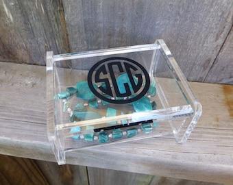 Monogram Mini Jewelry Box with Lid - Acrylic