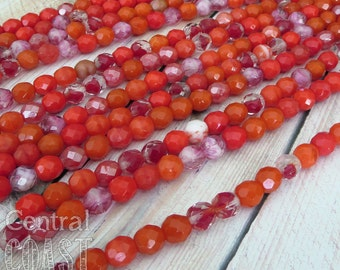 8mm Czech Glass Faceted Fire Polished Round Beads - Red Mix - 7 inch strand - approx 23 pcs - Central Coast Charms - Opaque - Transparent