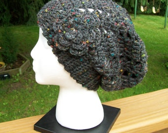 Crochet Slouchy Urban Beanie Hat with Flower Pin, Slouchy Slacker Hat- Teens/ Adults- in Dark Gray Tweed