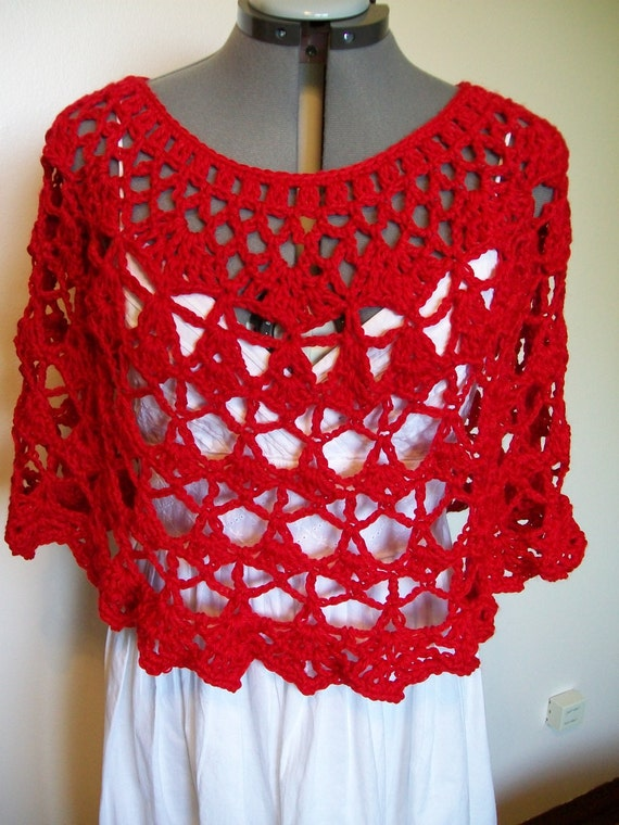 Lacy Crochet Ladies  Capelet, Shoulder Wrap, Shawl, Poncho, Cover Up - in True Red