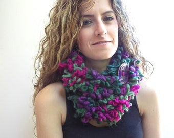 Circle Scarf, Neck Warmer, Double Layer scarf, Purple, Magenta, Olive Green infinity Scarf with Large Button
