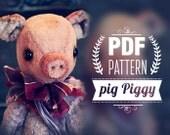 Download PDF Pattern.  Vintage Pig 8inch, Digital Download Artist Teddy Bears