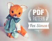 Artist Teddy Bear Fox Pattern - digital pattern - teddy bear Fox epattern 7 inches+ clothes. Instant Download